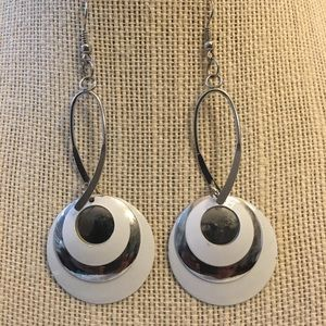 Jewelry - Silver Tone and White Earrings